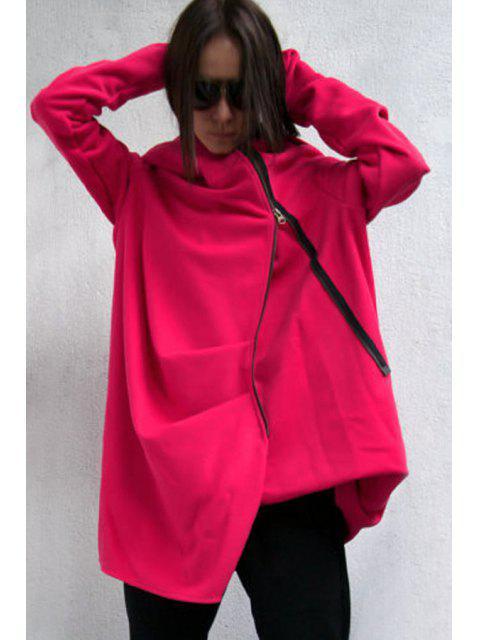 women's Hooded Irregular Zipper Trench Coat - RED M Mobile