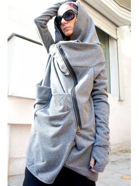 trendy Hooded Irregular Zipper Trench Coat - GRAY M Mobile