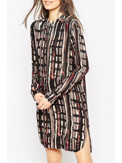 affordable Long Sleeve Abstract Print Side Slit Dress - COLORMIX XL Mobile