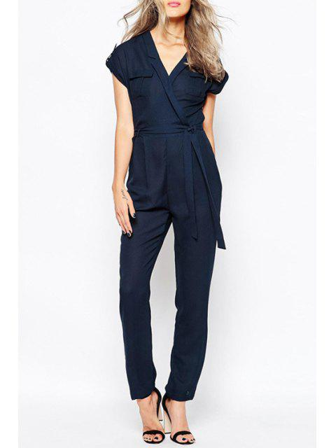 latest Cross-Over Collar Short Sleeve Tie-Up Jumpsuit - BLUE 2XL Mobile