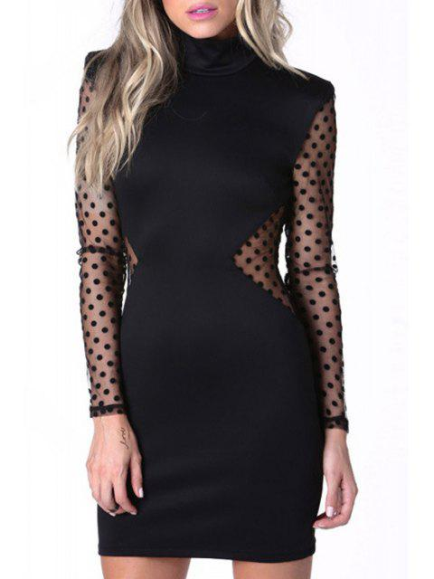 sale Turtle Neck Polka Dot See-Through Dress - BLACK S Mobile