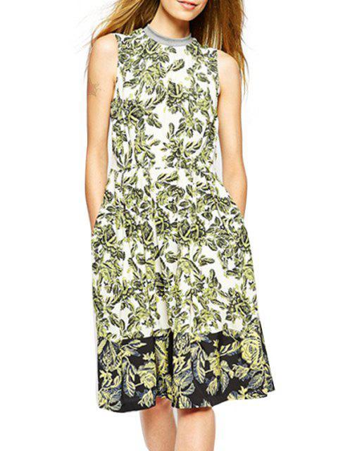 women Full Leaf Print Stand Neck Sleeveless Dress - WHITE XL Mobile