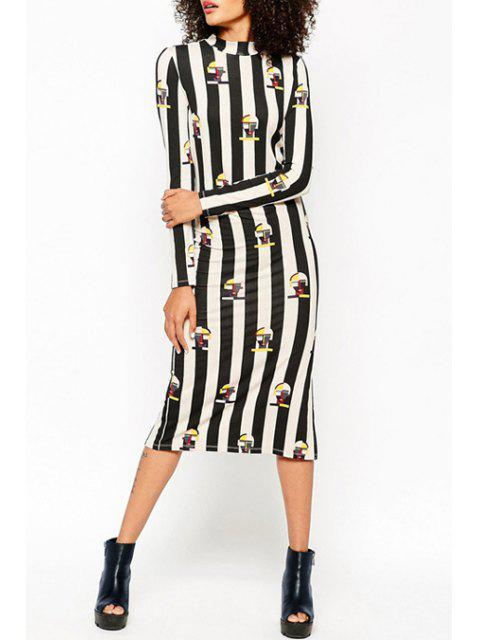 trendy Printed Striped Stand Collar Long Sleeves Dress - BLACK L Mobile