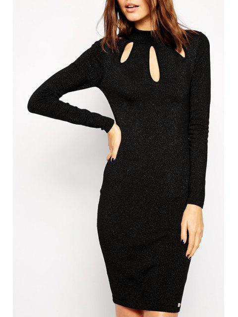 latest Cut Out Stand Collar Long Sleeves Dress - BLACK L Mobile