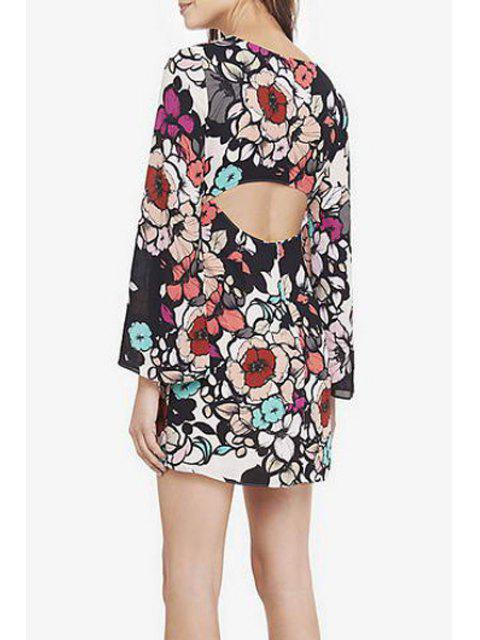 new Printed Cut Out Round Collar Long Sleeves Dress - COLORMIX S Mobile