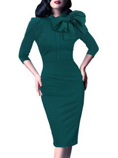shop Bowtie Solid Color Stand Collar Pencil Dress - GREEN XL Mobile