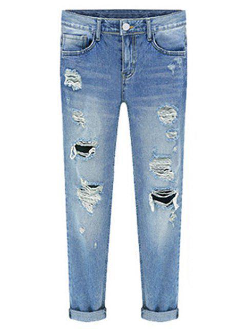 women's Bleach Wash Ripped Roll Cuff Jeans - BLUE XL Mobile