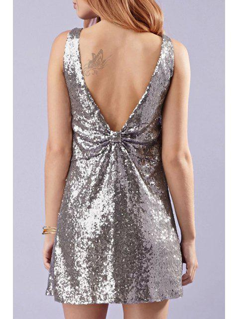 online Backless Sequins Bowknot Sleeveless V-Neck Dress - SILVER M Mobile