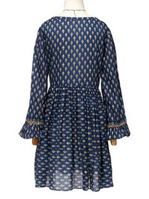 hot Long Sleeve Tiny Floral Tunic Dress - BLUE L Mobile