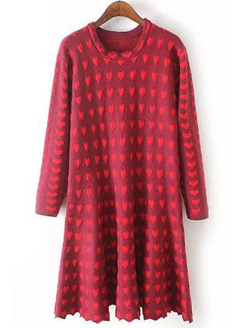 chic Full Heart Pattern Long Sleeve Dress - WINE RED XL Mobile
