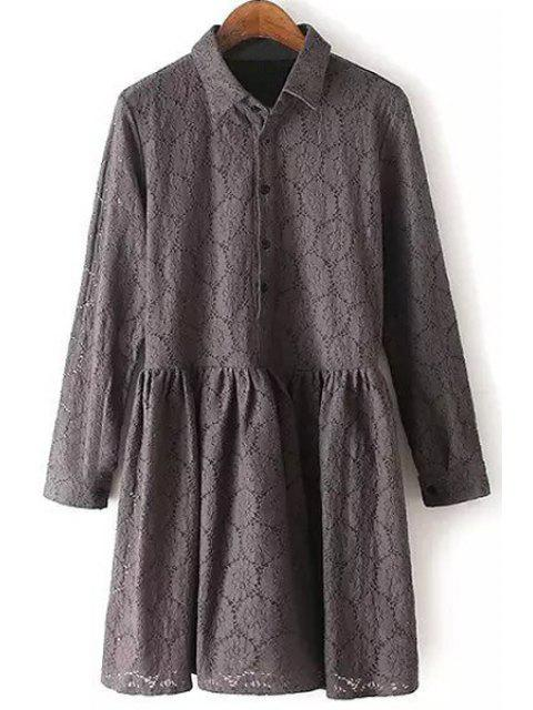 hot Lace Turn Down Collar Long Sleeve Dress - GRAY L Mobile