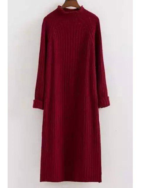 hot Mock Neck Solid Color Long Sleeves Sweater Dress - RED ONE SIZE(FIT SIZE XS TO M) Mobile