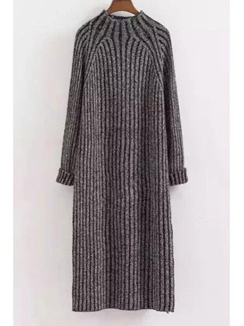 shops Mock Neck Solid Color Long Sleeves Sweater Dress - DEEP GRAY ONE SIZE(FIT SIZE XS TO M) Mobile