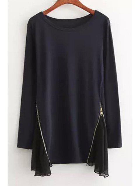 latest Voile Spliced Round Neck Long Sleeves T-Shirt -   Mobile