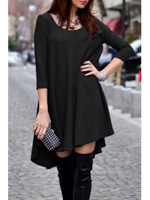 shop Scoop Neck Solid Color Dovetail Dress - BLACK S Mobile