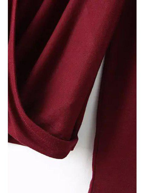 outfit Plunging Neck Long Sleeve Cross T-Shirt - WINE RED L Mobile