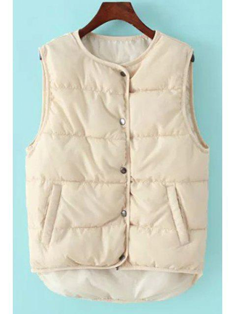 womens Round Collar Pure Color Waistcoat - OFF-WHITE ONE SIZE(FIT SIZE XS TO M) Mobile