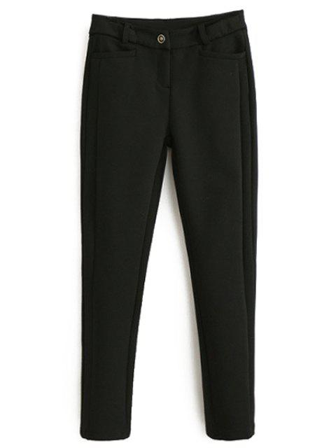 sale Solid Color Stretchy Thicken Narrow Feet Pants - BLACK L Mobile