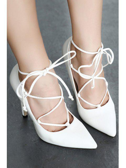 affordable Solid Color Criss-Cross Pointed Toe Pumps -   Mobile