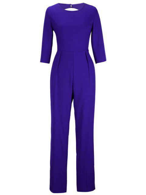 shops Backless Solid Color Round Collar Jumpsuit - SAPPHIRE BLUE M Mobile