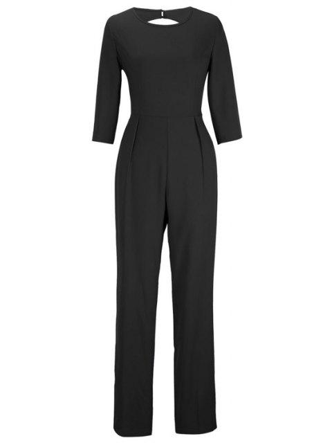 unique Backless Solid Color Round Collar Jumpsuit - BLACK XL Mobile