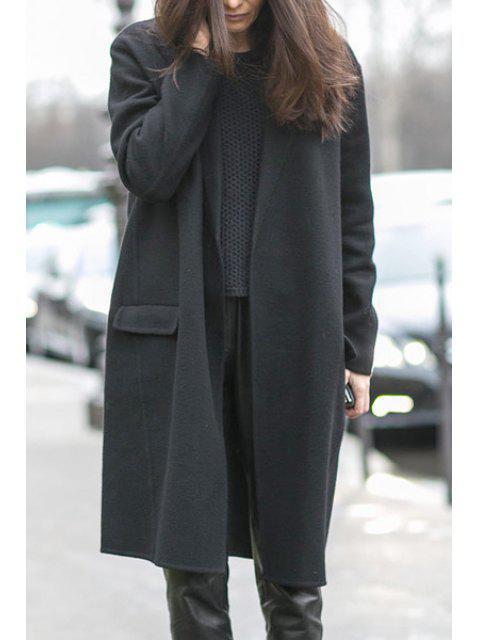 Manteau noir ouvert de conception de poche avant - Noir L Mobile