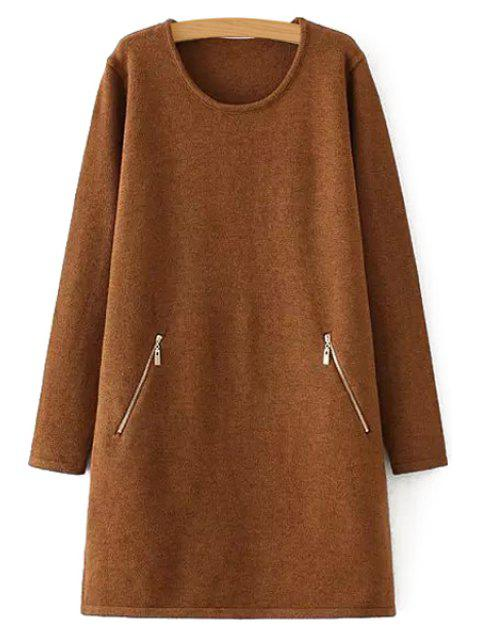 unique Zipper Pocket Long Sleeve Sweater Dress - KHAKI ONE SIZE(FIT SIZE XS TO M) Mobile