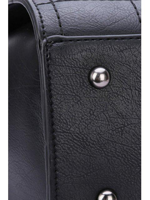 latest Grid Stitching Hasp Tote Bag - BLACK  Mobile