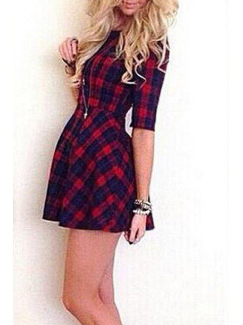 chic Half Sleeve Plaid Fit and Flare Dress - RED M Mobile