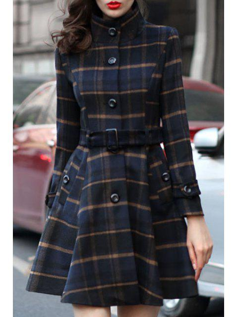 lady Stand Neck Plaid Skirt Coat - BLUE 2XL Mobile