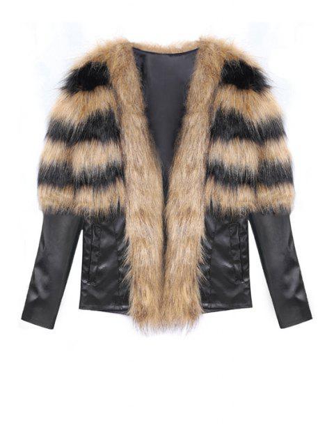 shop Faux Fur Spliced Long Sleeve Coat - BROWN L Mobile