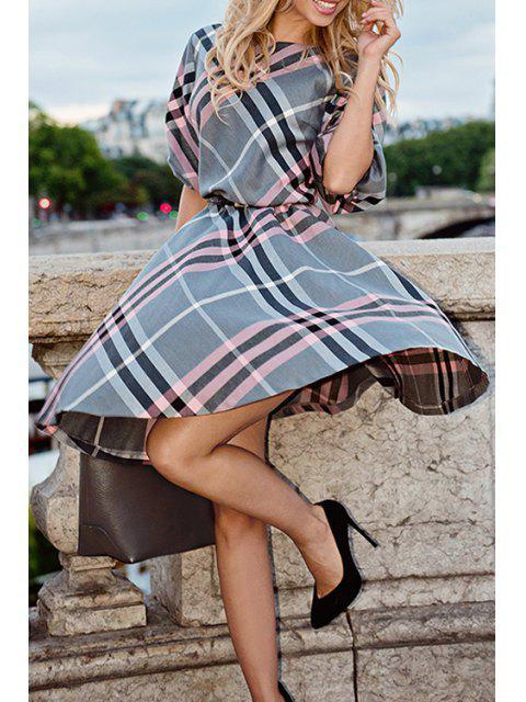 women Bateau Collar Half Sleeve Plaid Midi Dress - GRAY S Mobile
