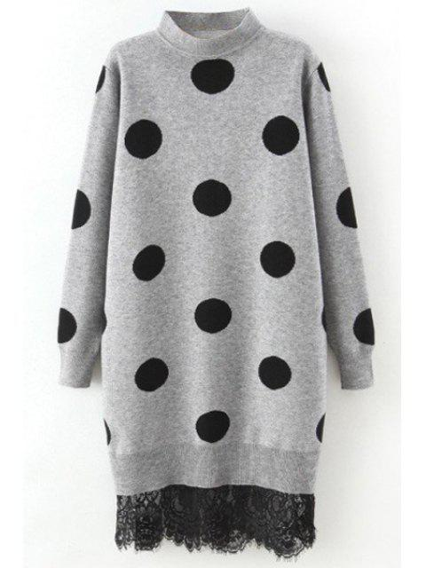 new Polka Dot Lace Trim Sweater Dress - GRAY ONE SIZE(FIT SIZE XS TO M) Mobile