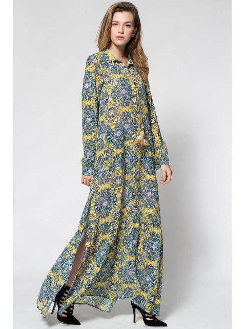 lady Printed Long Sleeve Maxi Prom Dress - YELLOW S Mobile