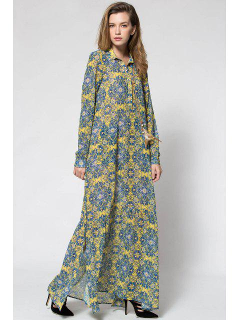 best Yellow Print Plunging Neck Long Sleeve Maxi Dress - YELLOW M Mobile