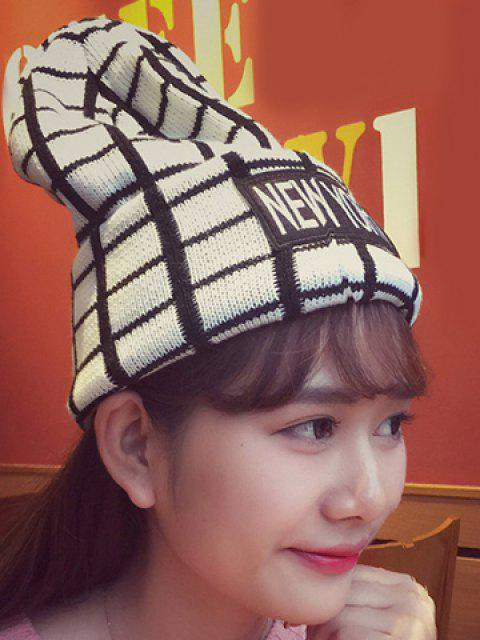 affordable Chic Letters Applique Embellished Gingham Pattern Knitted Beanie For Women - WHITE  Mobile