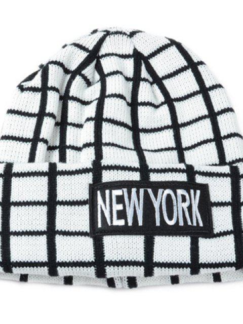 Chic Lettere Applique Impreziosito percalle modello di maglia Beanie per le donne - Bianca  Mobile