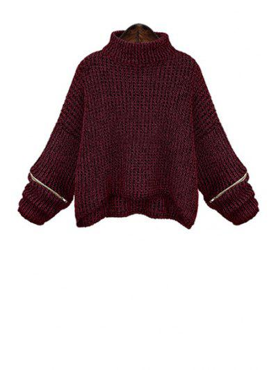 Turtle Neck Long Sleeve Zippered Oversized Sweater