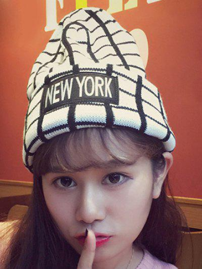 Chic Letters Applique Embellished Gingham Pattern Knitted Beanie For Women - White