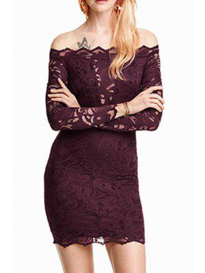 Solid Color Lace Off The Shoulder Long Sleeves Dress