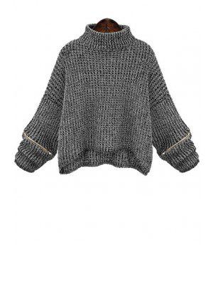 Turtle Neck Zippered Oversized Sweater - Deep Gray 5xl