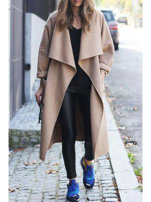 Light Camel Turn Down Collar Coat