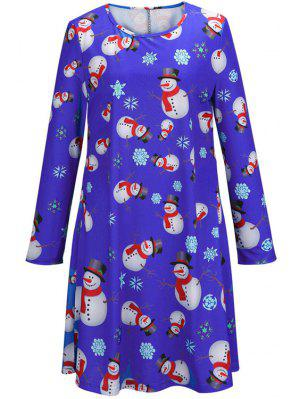 Santa Claus Snowflake Print Long Sleeves T-Shirt Dress - Blue L