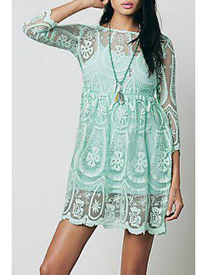 See-Through Lace 3/4 Sleeves Dress