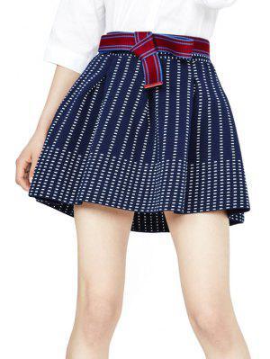 Striped A Line Skirt - Purplish Blue S