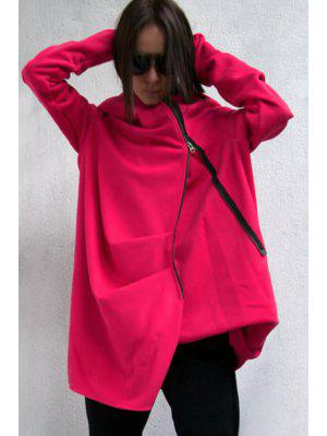 Hooded Irregular Zipper Trench Coat - Red M
