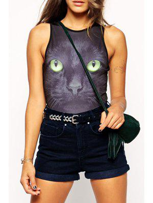 Black Cat Print Sleeveless Bodysuit