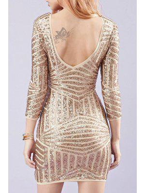 Backless Sequins 3/4 Sleeves Bodycon Dress