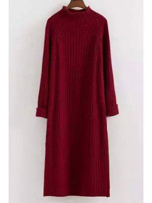 Mock Neck Solid Color Long Sleeves Sweater Dress