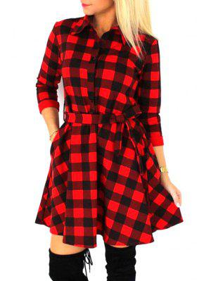 Checked Waisted Flat Neck 3/4 Sleeves Shirt Dress